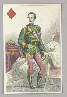 """Franz Joseph, Emperor of Austria, King of Diamonds from Set of """"Jeu Imperial–Second Empire–Napoleon III"""" Playing Cards."""