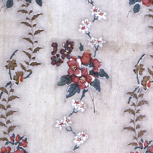 Panel of cream white cotton, with block-printed design in perpendicular arrangement. Delicate ascending vine with clusters of small flowers, naturalistically drawn in shades of red, violet, blue and yellow drab; small flowers in pure white probably by discharge. Fine picotage in dark brown around the vines and blossoms. Left selvages present.