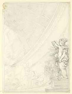 On a pedestal, right, the full-length figure of the Virgin, supporting the Child on her left hand, facing left in profile. A procession of figures, a few wearing haloes, approach from the left. Perspective view of church and dome in background.