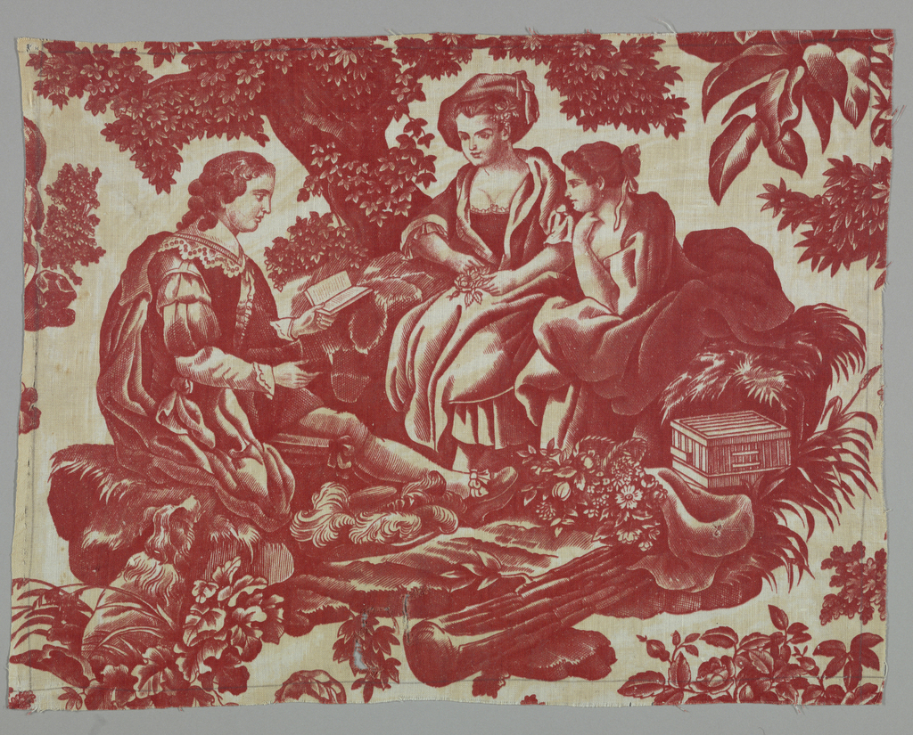 Fragment shows a man seated under a tree reading to two women. They are surrounded by trees, leafy vegetation and flowers.