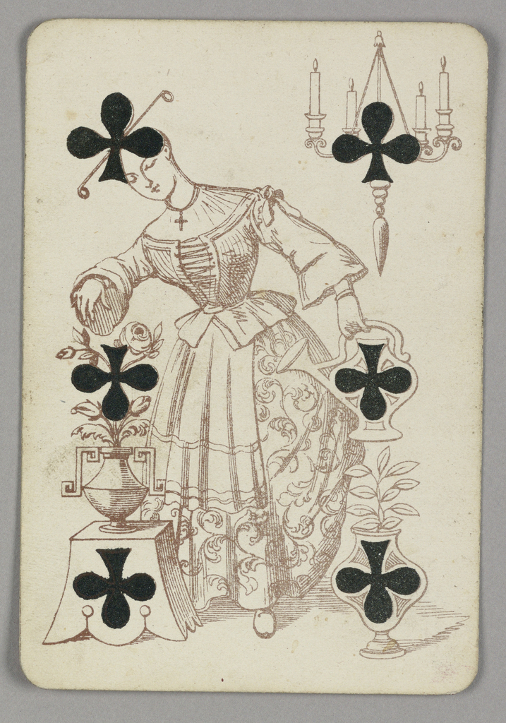 Six of Clubs playing card from a pack of transformation playing cards. Female figure in flowered dress and ornamental hairstyle. She carries a pitcher of water and waters pots of flowers and plants. At upper right, a chandelier with four burning candles. Six black clubs integrated into the design.