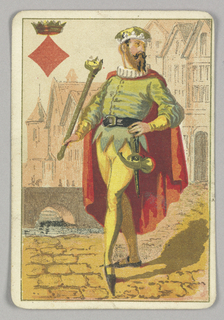 King of Diamonds court playing card from a pack of transformation playing cards. Figure of a man wearing courtly costume with an elaborate crown and cape, a dagger at his hip and a scepter in his hand. Architectural buildings in the distance. At upper left corner, a red diamond topped by a crown.