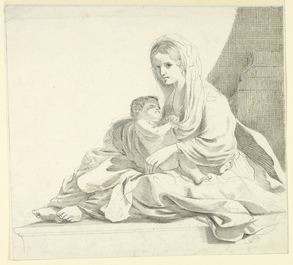 Woman seated on a molded floor, turned toward the left, with the child in her lap, who grasps her head cloth.