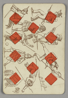 Ten of Diamonds playing card from a pack of transformation playing cards. Vertically, a figural scene shown in outline depicting many soldiers in various states of fighting or marching. Most clutch muskets or swords, and the figures present a variety of military costumes. At lower left, a soldier beats a drum. A man near him sleeps, clutching a spear. Wooden cart at lower left corner.