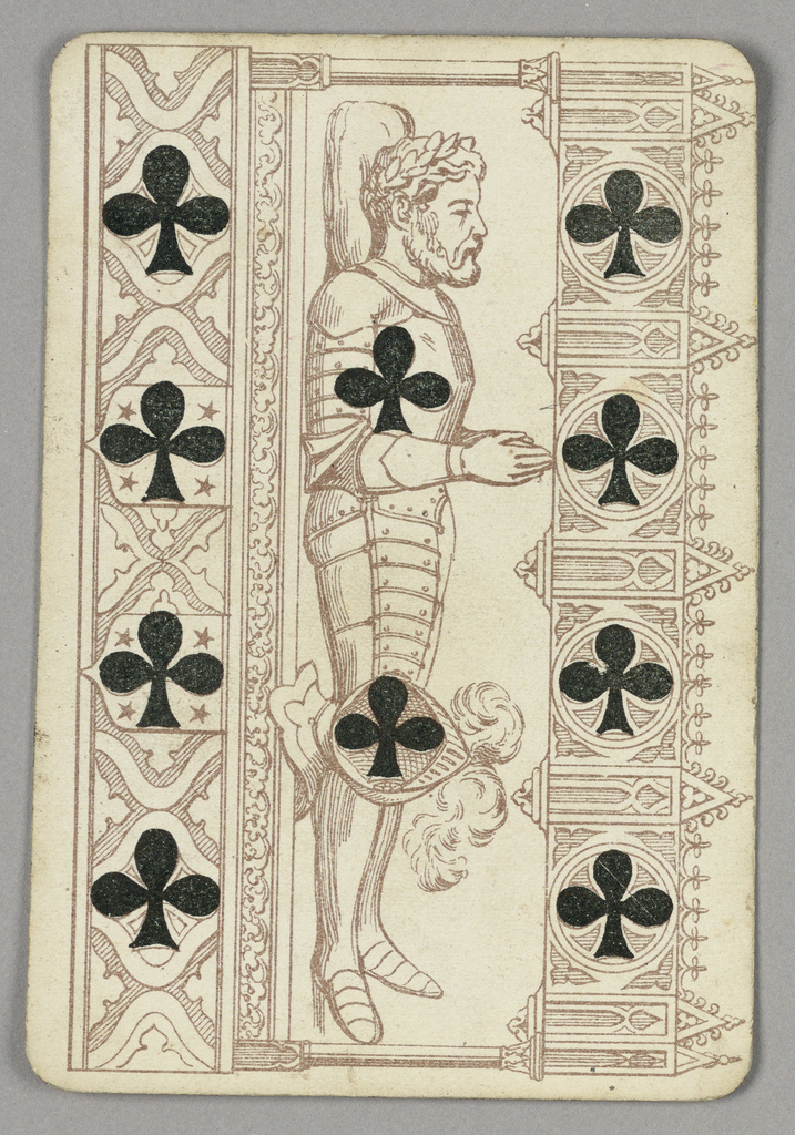Ten of Clubs playing card from a pack of transformation playing cards. Vertically, an elaborate scene of a male figure in armor laid out for his funeral, his head crowned with laurel leaves, his hands clasped in prayer. Ten black clubs integrated with the scene.