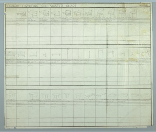 Drawing, Charak Furniture Company Master Chart: Seating, Hardware, and Tables, 1957–1958