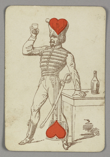 Two of Hearts playing card from a pack of transformation playing cards. Male figure depicted in outline, wearing the costume of a soldier with a sword at his left hip, raises a glass with liquid in his right hand. His left hand rests on a table shown at right, upon which is placed a bottle. Two symmetrical red hearts appear at center top and bottom.