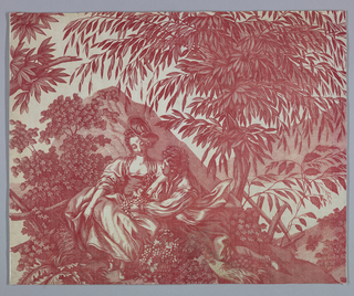 Fragment shows a man and woman seat on a hillside under trees. In red on white.
