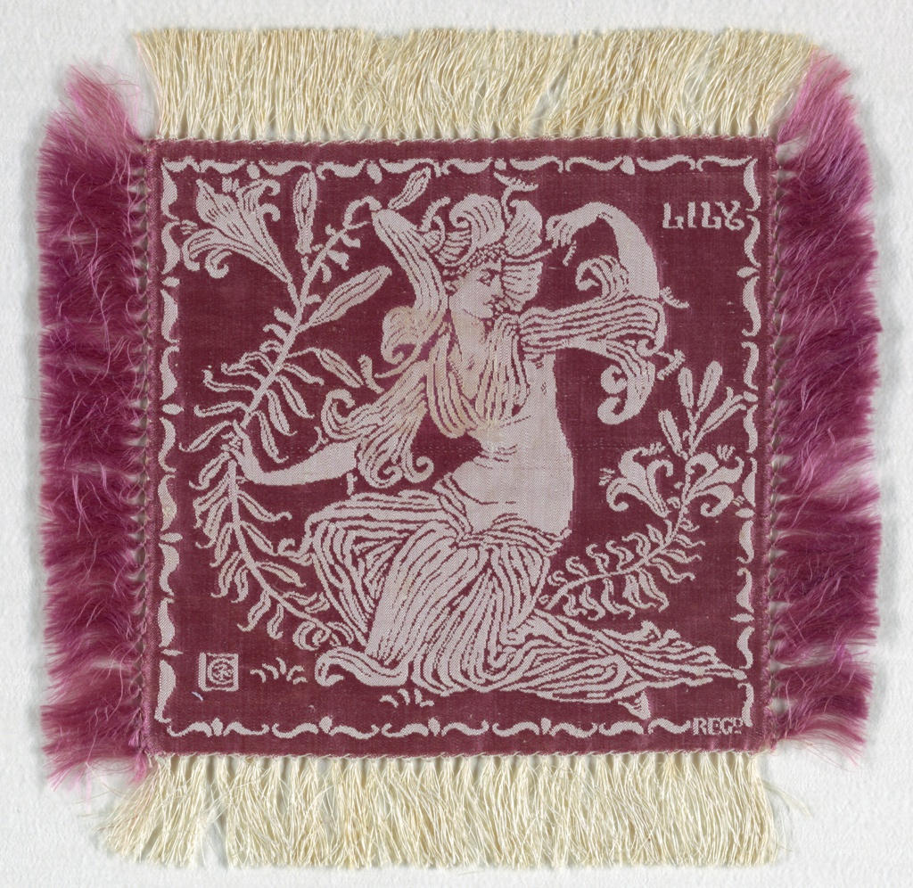 Small square doily, fringed on all sides, with an ivory linen warp and violet silk weft. A figure of a woman dressed as a lily and holding a large lily, with the word LILY in the upper right corner, all in ivory on a violet ground. A set of six, the doilies would have been used on the table as part of a dessert service.