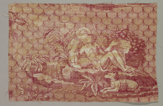 "Fragment shows a man and woman seated on the ground next to a stream with plants. A dog lies in front of them. They float against a background pattern of overlapping ovals. The words ""Estelle et Nemorin"" appear within the leafy vegetation."