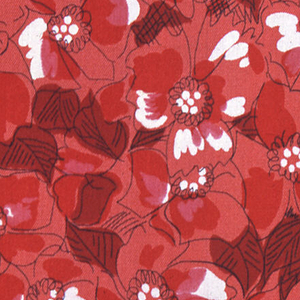Sample of printed silk in shades of red, black for outlining and flecks of the white ground showing. Design is an allover flower pattern, perhaps wild rose or similar blossoms, with foliage.