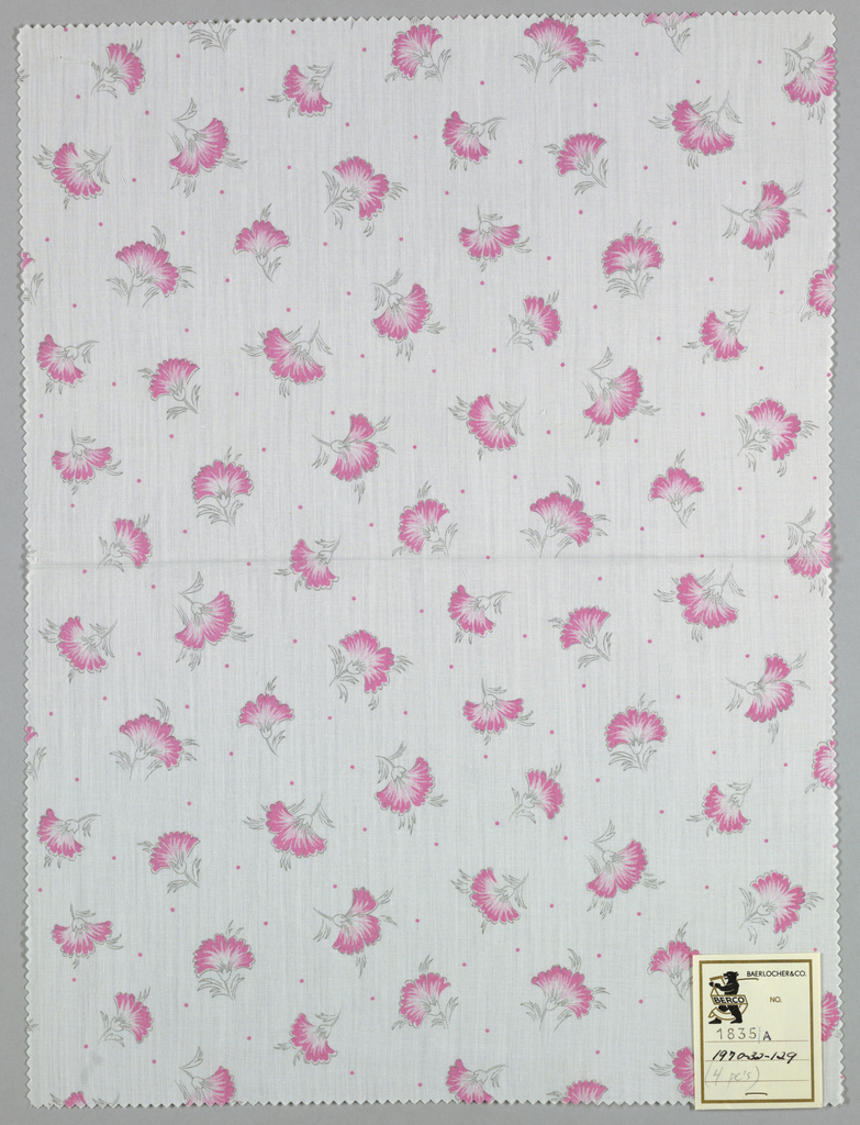 Four samples patterned by stylized carnations scattered on a ground with small dots in between. In four colorways.