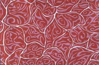 Sample of silk printed in two shades of red, with white ground showing as an uneven outline.