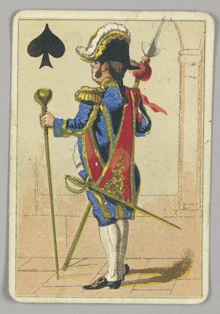 Jack of Spades court playing card from a pack of transformation playing cards. A male figure in court dress holding staffs and weapons. A black spade at upper left corner.