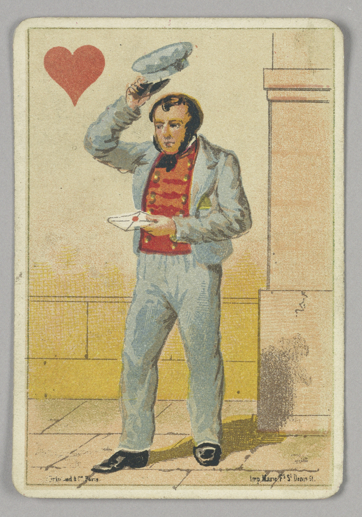 Jack of Hearts court playing card from a pack of transformation playing cards. A male figure shown in a postman's uniform, raising his hat and carrying a love letter for delivery. A red heart at upper left corner.