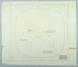 Drawing, Design for Tabletop, Revised, February 28, 1958
