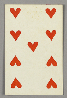 """Nine of Hearts from Set of """"Jeu Imperial–Second Empire–Napoleon III"""" Playing Cards."""