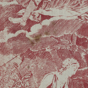 Fragment shows a vignette of a woman in classical dress seated beneath a tree near a rocky outcropping. Above her is a reclining figure in a cloud. The background is a diamond-shaped lattice. In red on a white ground.