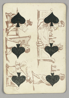 Six of Spades playing card from a pack of transformation playing cards. Vertically, six male figures depicted in outline, each engaged in a different activity, the spade symbol incorporated into their bodies as the torso. At right, two seated men eat dinner; a waiter brings them a bottle of wine. At left, a seated man in a top hat reads a document while a musician facing him plays the harp. At bottom, a man smokes a long pipe.