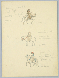 Drawing, Color Notes for Chaucer, the Nun, and the Priest, Study for Library of Congress Mural (Canterbury Pilgrims), ca. 1939