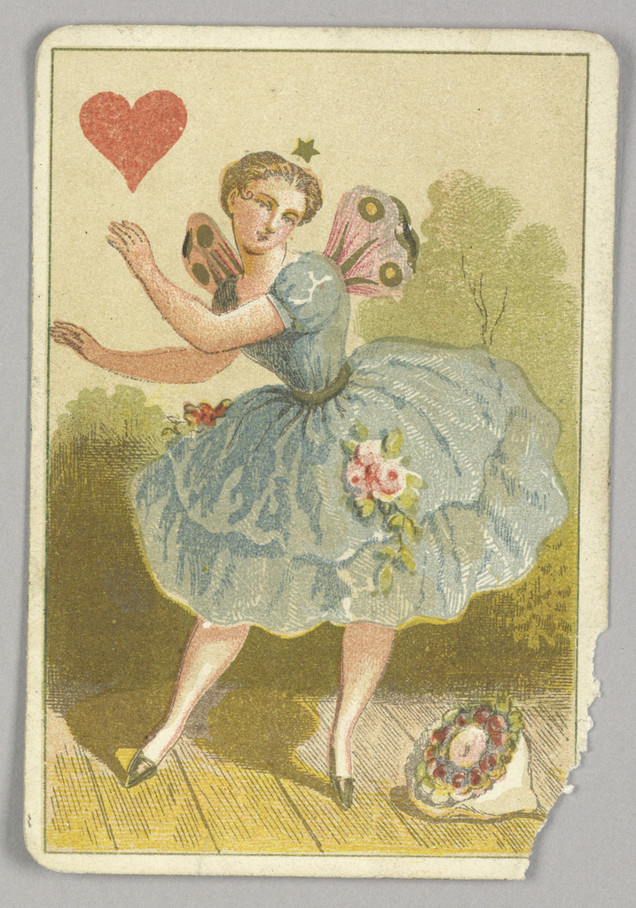 Queen of Hearts court playing card from a pack of transformation playing cards. A female figure in a full dress, wearing the costume of a ballerina. The dancer has pink wings and a star above her head, a bouquet of flowers on the stage at her feet. A red heart at upper left.