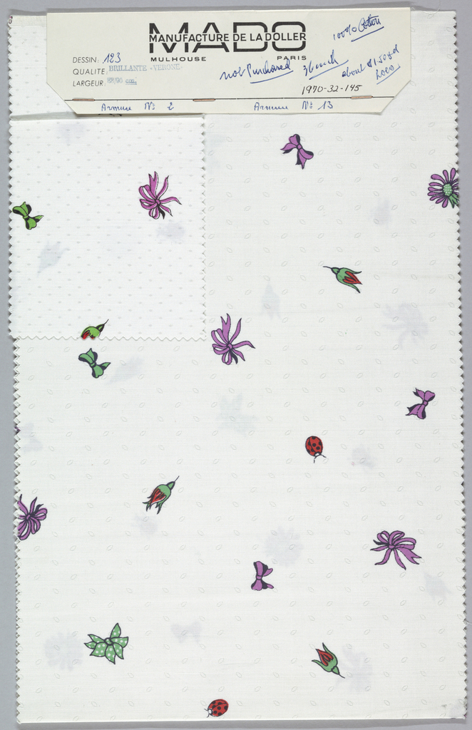 Two samples, one patterned by woven dots and the other by woven ellipses, are printed with scattered motifs of ribbon bows, lady bugs, flower heads, and flower buds.Five colors per sample. Bound at top by cardboard.