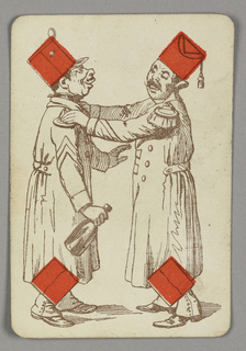 Four of Diamonds playing card from a pack of transformation playing cards. Two male figures in military costume depicted in outline, with red diamonds integrated into their hats as well as the cuffs of their boots. At left, a map with a top hat holds a bottle, possibly of wine. At right, a man wearing a fez places his hands on the other's shoulders.