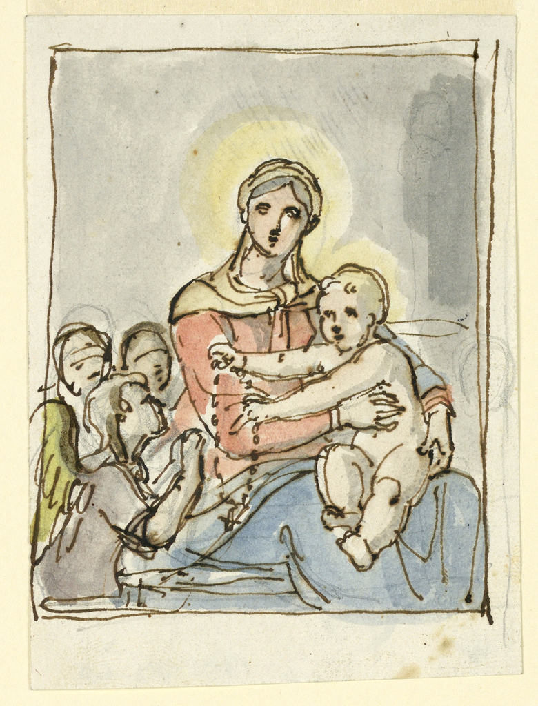 The Christ Child sits on his mother's lap and hands a rosary to an angel.