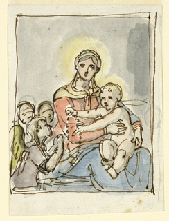The Christ Child sits on his mother's lap and hands a rosary to an angel. Design for a painting.