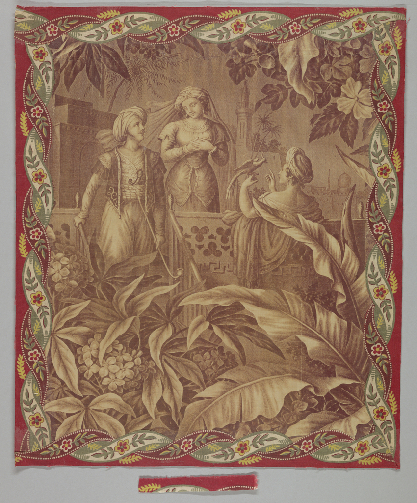 Fragment in two pieces of a Turkish scene showing a man and two women on a balcony with buildings and palm trees in the background. Large, leafy fronds with flowers fill the foreground. A conventionalized border frames the scene.