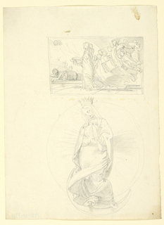 Above, a sleeping figure, approached by a hooded draped figure of a woman, attended by a host of others, rising as they move along. Below - the full-length figure of the Virgin, standing on a crescent moon.