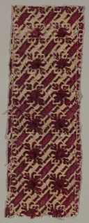 Small-scale repeat pattern in maroon cut and uncut velvet against dark cream-colored ground.