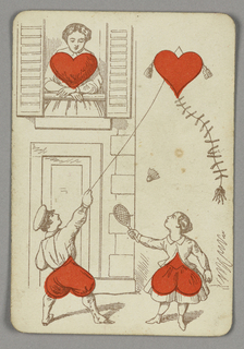 Four of Hearts playing card from a pack of transformation playing cards. A scene of children playing in front of a domestic building. A boy at left in a cap flies a kite--his bottom and the kite take the form of red hearts. At right, a girl holding a racquet plays badminton; a red heart forms the skirt of her dress. At upper left, a female figure in a window surveys the children, a red heart forming the shape of her chest.