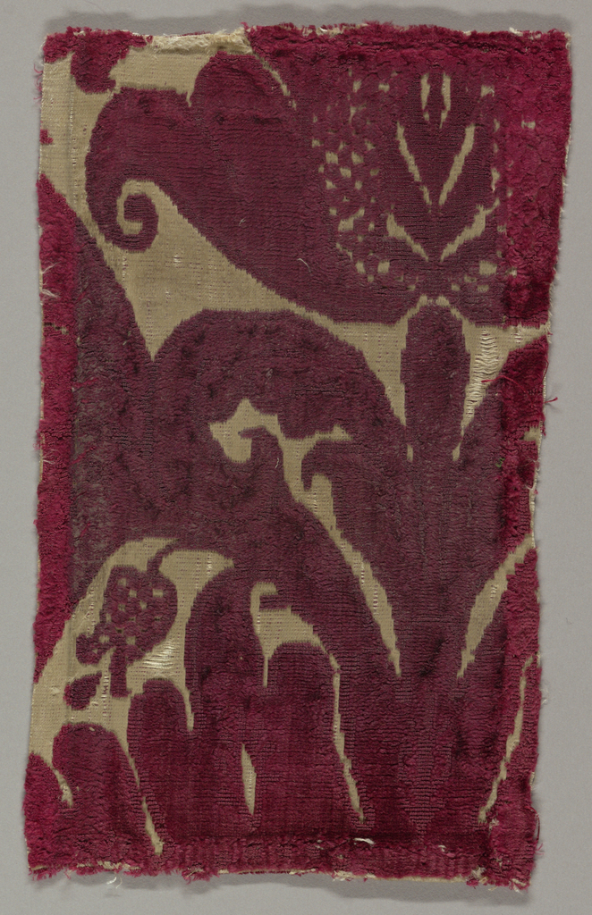 Fragment of red cut and uncut velvet on white satin ground. Portion of large-scale floral motif at top right. Stem and foliage below.