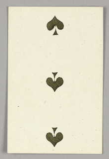 """Three of Spades from Set of """"Jeu Imperial–Second Empire–Napoleon III"""" Playing Cards."""