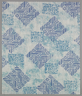 """Design of squares and diamomds looking vaguely """"South Seas""""  a. three blues b. brown, yellow and pink c. blue and two greens"""