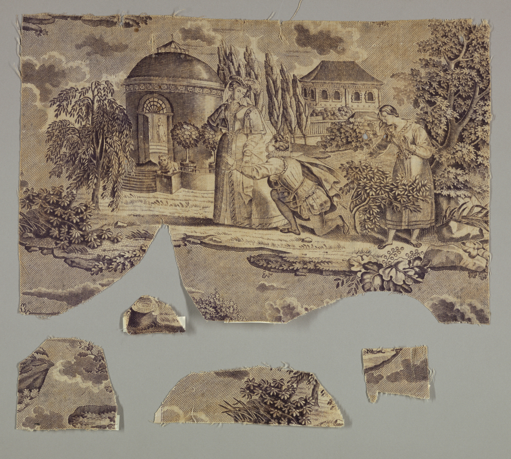 Fragment showing a kneeling man and two women in sixteenth-century costume with a round temple-like building set amongst trees and rocks. Another small building is in the background. In purple on white.