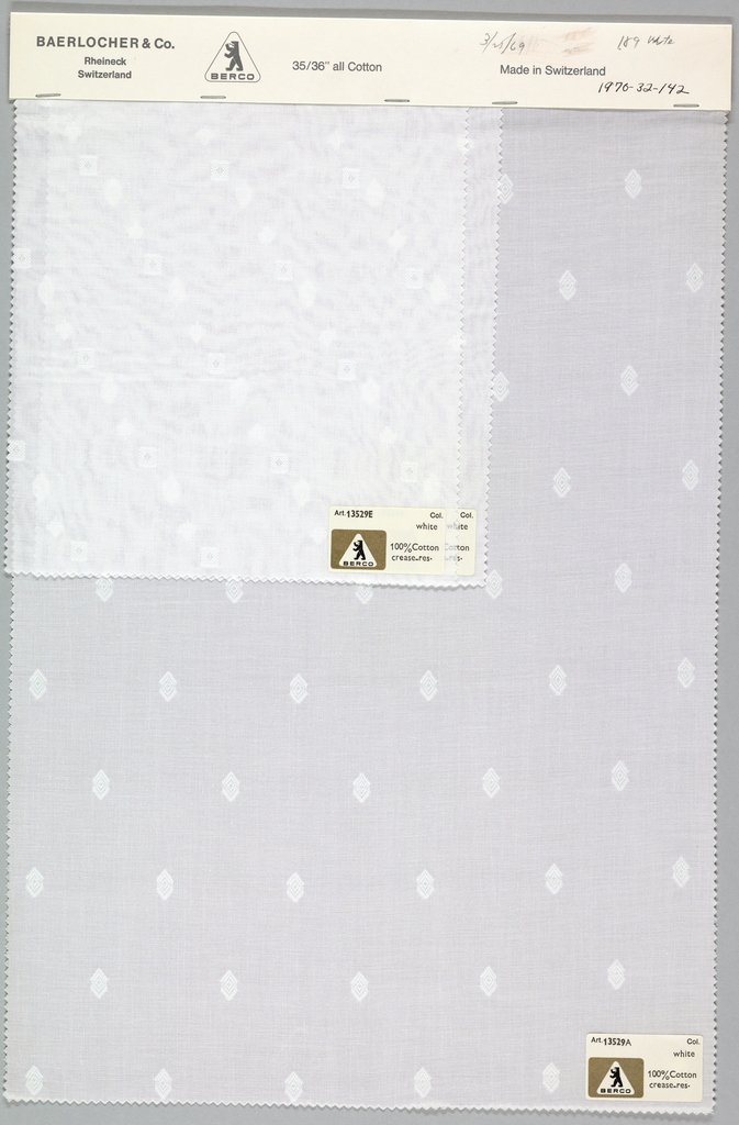 Three white samples, each one brocaded in white with a different pattern consisting of squares, hexagons and ivy leaves. Bound at top by cardboard.