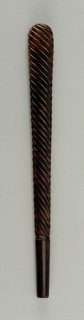 Simple dark-colored tortoiseshell parasol handle with carved spiral stripes