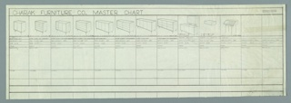 Drawing, Charak Furniture Company Master Chart: Case Pieces, 1957–1958
