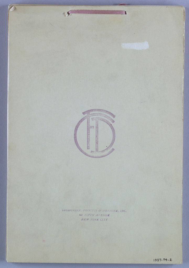"Sixty-nine samples of printed silks pasted to white cards with typed numbers. Cards tied together at top with pink woven tape. Cover is stamped: ""Coudurier, Fructus & Devigne, Inc. 485 Fifth Avenue, New York."""