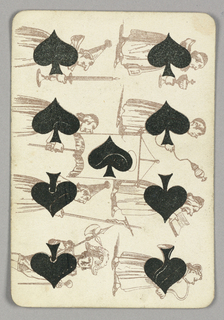 Nine of Spades playing card from a pack of transformation playing cards. Vertically, two rows of male figures shown in outline, seven shown as altar servers, with one knight at lower left. Most wear long robes, with spades integrated into their torsos. The ninth spade appears at center, haloed on a banner carried by an altar server. The altar servers carry a chalice, an incense burner, a bible, a horn, a candle, a banner, and a crucifix.