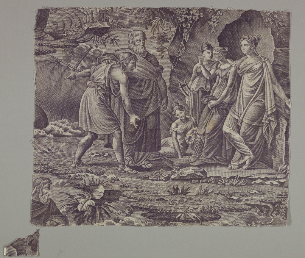Fragment shows two men and four women all dressed in Classical robes and sandals. Rocks, flowers and a part of a sail show in the background.
