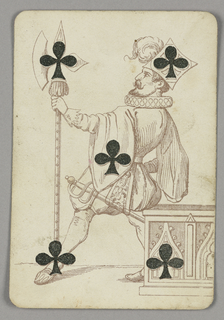 Five of Clubs playing card from a pack of transformation playing cards. A male court figure wearing elaborate costume, a sword at his hip and holding a large decorative ax. Five black clubs integrated into the scene.