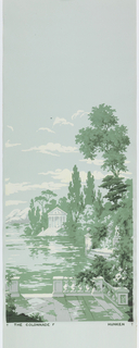"""Colonnade"" illustrates a woodland scene containing a variety of trees, a lake and distant mountains. Architectural monuments include a colonnade and other classically inspired structures, stone balustrades, patios and a fountain. Screen printed with four shades of green, gray and white, with airbrushed black accents, on a blue ground. This is a full set of six panels."