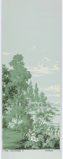 """""""Colonnade"""" illustrates a woodland scene containing a variety of trees, a lake and distant mountains. Architectural monuments include a colonnade and other classically inspired structures, stone balustrades, patios and a fountain. Screen printed with four shades of green, gray and white, with airbrushed black accents, on a blue ground. This is a full set of six panels."""