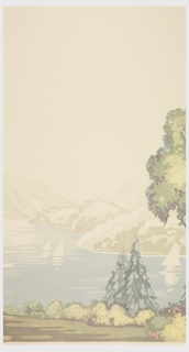 Four panels showing a view along the Hudson River, showing figures dressed in formal attire, sailboats in the water, trees in the foreground, and mountains in the background. One panel of sky.