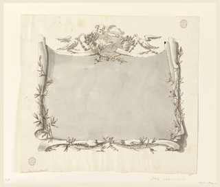 A scroll of paper, cut above and below to form scrolls, like those of an escutcheon, is framed below laterally by two branches with leaves. In the center above are a putto, and two cornucopia from which swans are eating, having festoons around their necks.