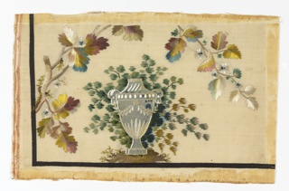 a) Taffeta with birds on sprays; b) taffeta with urn under leaves