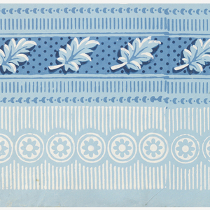 Design is divided equally into two bands. On the top band, a highlighted leaf repeats continuously against a polka-dot background with edgings of dentils and tiny crescents. The lower band is simpler: a row of rosettes runs down the center against a background of vertical stripes; printed in blues and white over a pastel blue ground.